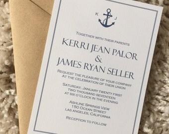 Anchor nautical wedding invitation, beach, destination, initials