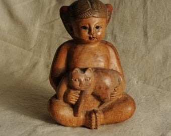 Peace Girl and ChillCat vintage Thai wood sculpture