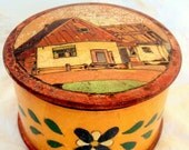 VALENTINES SALE Vintage Russian Folk Art Round Wooden Box, Hand Carved, Jewelry/Trinket,Russian Home Decor,Hand painted, Russian Farm Scene,