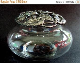 VALENTINES SALE Vintage Potpourri Jar, Marked, Metzke Pewter 1989,Floral Violet Design, Glass, Keepsake, Vanity, Home Decor, Silver, Scent C
