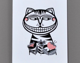 Alice in Wonderland Greetings Card / Cheshire Cat Card / Paper-cut Style Card