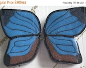 50% OFF - BLUE Wing BEADS - 2 Polymer Clay Beads