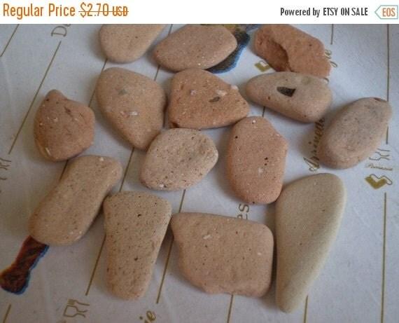 50% OFF - CAMBIAMENTO - 14 genuine Pottery Beach Stones