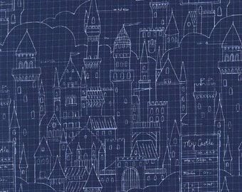 SALE - Michael Miller - Magic Collection by Sarah Jane - Castle Plans in Navy