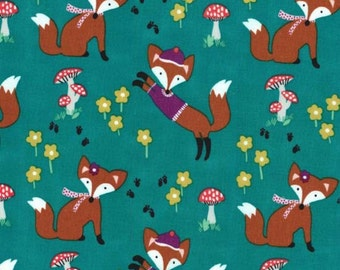 Michael Miller - Fox Woods Collection - Lil Foxy in Teal