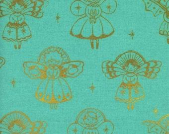Cotton + Steel - Garland Collection - Angels in Aqua Metallic