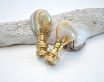 Lamp Finials - Banded Agate Pair