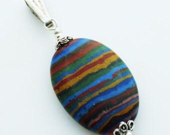 Rainbow Calsilica Oval Sterling Silver Gemstone Pendant EE Designs