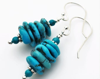 Turquoise Stacked Gemstone Sterling Earrings EE Designs