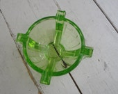 Vintage Ashtray Green Glass Art Deco Uranium