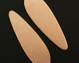 4 Copper Teardrop Stamping Blanks, Discs - Filed and Polished - 38mm X 12mm