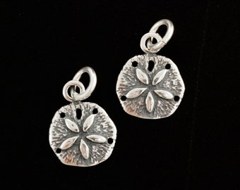1 Sterling Silver Sand Dollar Charm - 9mm X 12mm Jump Ring Included