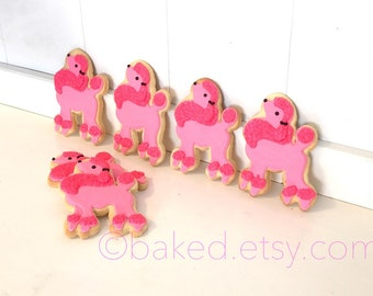 Pink Poodle Hand Decorated Iced Sugar Cookies - 1 Dozen