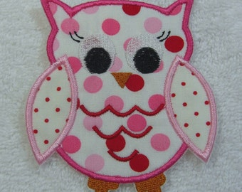 Owl Fabric Embroidered Iron On Applique Patch Ready to Ship