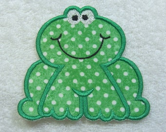 Sweet Frog Fabric Embroidered Iron On Applique Patch Ready to Ship