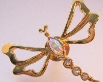 15% OFF SALE AVON Dragonfly Rhinestone Brooch Pin Vintage Jewelry Jewellery