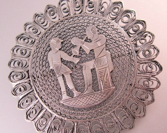 1920s Vintage Egyptian Revival Brooch Pin Sterling Silver Filigree Jewelry Jewellery