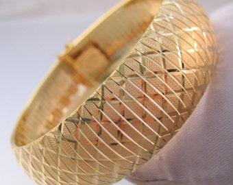 "Vintage Italian OTC 18K GEP 3/4"" Wide Link Bracelet Signed Designer Jewelry Jewellery"