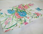 SALE - Vintage Full Flat Sheet, turquoise, pink, floral, 1970s or 1960s
