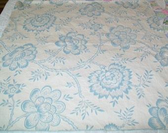 SALE - Vintage Woven Floral Fabric Piece, light blue, off white
