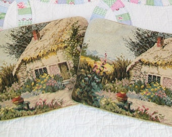 2 Needlepoint Pillow Covers with zippers, Vintage, English Cottage