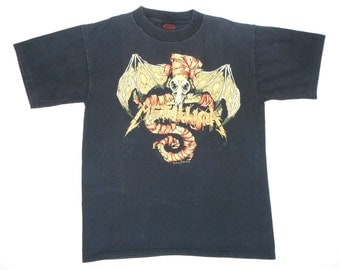 Metallica Vintage 90's Black Concert T Shirt 1991 Wherever I May Roam Pushead Print Metal L