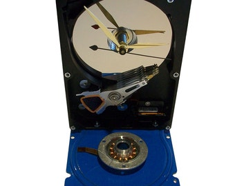 Computer Hard Drive Clock--from Recycled Computer, Enamel Blue Base.