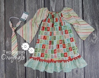 Christmas Brother and Sister Matching Outfits - Boutique Peasant Dress & Little Boy Necktie - Evergreen Holly Jolly Winter