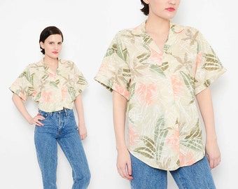 80s Tan Safari Shirt Jungle Leaf Novelty Print Boho Chic Button Down Short Sleeve Top Muted Colors Small Medium S M