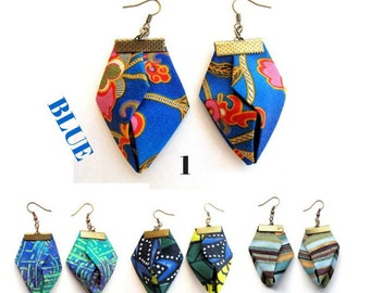 Origami Fiber Earrings,origami earrings, Fiber origami, blue green earrings