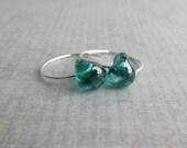 Teal Green Earrings, Small Hoop Earrings, Lampwork Earrings, Everyday Earrings, Teal Earrings, Handmade Silver Earrings, Wire Earrings