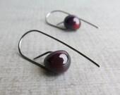 Dark Purple Earrings, Modern Dangle Earrings, Minimalist Earrings, Purple Swirl Lampwork Earrings, Dark Silver Wire Earring, Sterling Silver