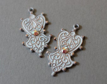 White Enamel Copper And AB Swarovski Crystal Charms - Earring Components