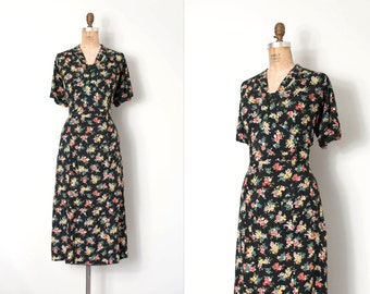 vintage 1930s dress / 30s floral rayon dress / Twilight Blooms