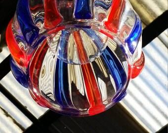 Cobalt & Red Striped Hanging Pendant Light