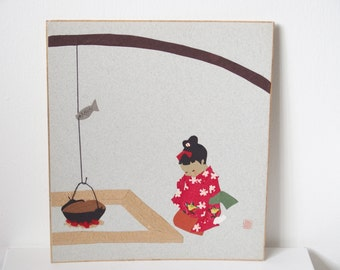 Japanese Paper Art Picture Kneeling Kimono Girl In Front Of Traditional Fireplace