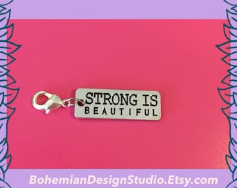 Strong is beautiful clip charm, fitness charm, fitness jewellery, motivational charm, gym fitness gift, strength training workout, UK seller
