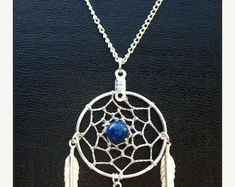 ON SALE DREAM Catcher Necklace, silver dreamcatcher with lapis, dreamcatcher necklace, Lapis necklace