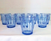 8 Vintage Pale Blue Tumbler Glasses Made In France French