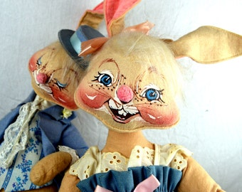 Lot of TWO 1980s 80s  Weird Annalee Doll Mobiltee 1982 - Easter Bunny Rabbits