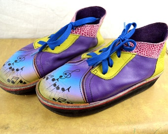 Amazing Rare Vintage Hand Painted Leather Shoes - Tire Sole - Purple Music Scene