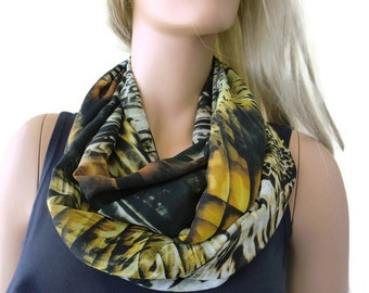 Fall abstract Chiffon infinity scarf-brown, black,amber,copper-Little breezy pop of color- Instant gratification