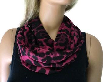 Fuchsia leopard/animal print Chiffon infinity scarf-chiffon cowl-Instant gratification