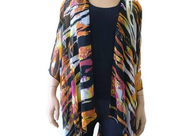 Silky Boho Kimono-Colorful-orange, yellow,black,white and hint of berry-Lagenlook style-Kimono cardigan -  Feather light chiffon