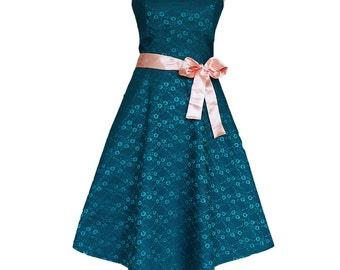 Dress, wedding dress, petrol blue, lace, wedding, vintage, romantic, petrol colors, lace dress, bridesmaid, bridal, cute