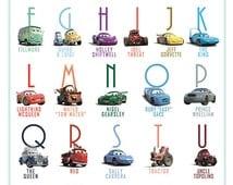 Printable Alphabet Lightning McQueen Cars Abc poster Decor wall Art print Huge poster digital download