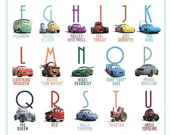 Printable Alphabet Lightning McQueen Cars Abc poster Decor wall Art print Huge poster digital download abc chart