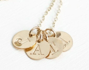 Mothers Gold Initial Necklace / Personalized Four Initial Charm Necklace for Mom / Childrens Initial Necklace / Family Necklace