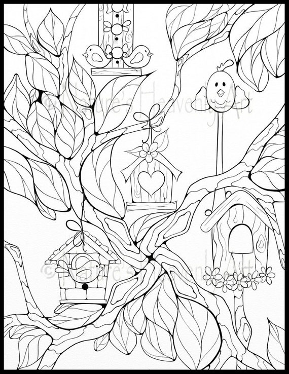 Items similar to Instant Download Adult Coloring Page Bird House