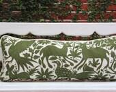 Olive Green Lumbar Hand Embroidered Otomi Cushion Sham